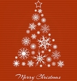 Christmas tree from white snowflakes on red vector image