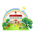 Kids playing at the playground vector image