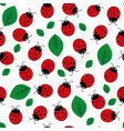 ladybug with leaves seamless pattern vector image