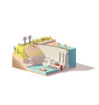 low poly hydroelectric power station vector image