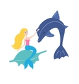 mermaid with dolphin vector image