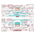 set of modern thin line seo and startup vector image