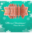 White paper Christmas garland with red snowflakes vector image
