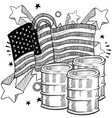 doodle americana oil bw vector image vector image
