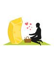 Lover gold Golds bullion on picnic Rendezvous in vector image