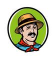 farmer gardener logo farm product farming vector image