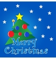 Merry Christmas tree with gold star vector image