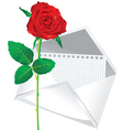 rose and envelope vector image vector image