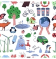 Colored Ecology and recycle doodle pattern vector image