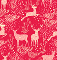 Christmas seamless pattern deer nature elements vector image