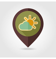 Sun and cloud retro flat pin map icon Weather vector image