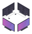 flat or plasma tv with power cord isometric vector image