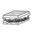 line delicious sandwich fast food meal vector image