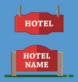 red hotel label flat style vector image