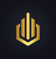 shape business finance line gold logo vector image