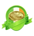 Sticker Gold Coin St Patricks Day vector image