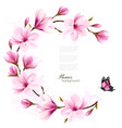 nature background with blossom branch of pink vector image vector image