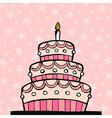 Pink birthday cake vector image vector image