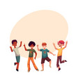 black and caucasian boys kids having fun dancing vector image