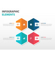 colorful 4 hexagon business infographics elements vector image