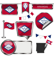 Glossy icons with Arkansan flag vector image