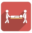 Medics Carry The Patient Flat Rounded Square Icon vector image