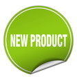 new product round green sticker isolated on white vector image