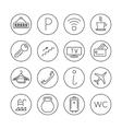 Hotel services line thin icons set vector image