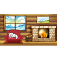 A cat sleeping at the sofa near the fireplace vector image