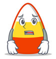 afraid candy corn character cartoon vector image