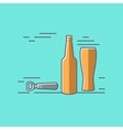 beer glass bottle flat design background vector image