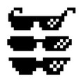 black pixel glasses thug lifestyle for vector image
