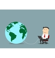 Businessman with laptop connected to a globe vector image