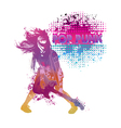 Girl playing guitar pop punk vector image