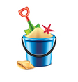 toy bucket with sand isolated vector image