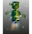 Green robot flying in the space vector image vector image