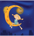 The girl and the moon cartoon vector image vector image
