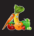 fruits veggies collection vector image vector image