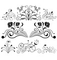 Black and white floral design elements vector image