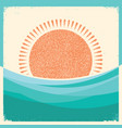 sea waves and sun retro background vintage vector image