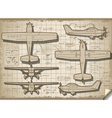Old Plane Project in Five Views vector image