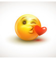 cute feeling in love emoticon isolated on white vector image