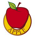 red apple label design vector image