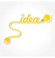 Idea word with light-bulb and electric plug vector image