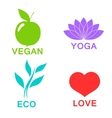 green ecology alphabet - icons and symbols vector image