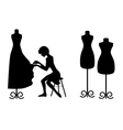 Silhouettes designer and mannequins on white vector image