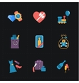 Gift flat colorful shop icons on black vector image