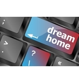 Computer keyboard with dream home key - technology vector image