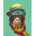 Chimpanzee polygonal eps 10 vector image