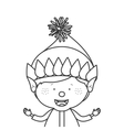 Contour with half body gnome boy vector image